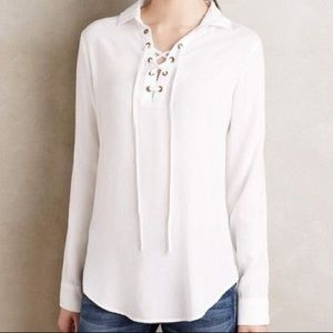 Cloth and Stone Anthropologie Lace Up Top